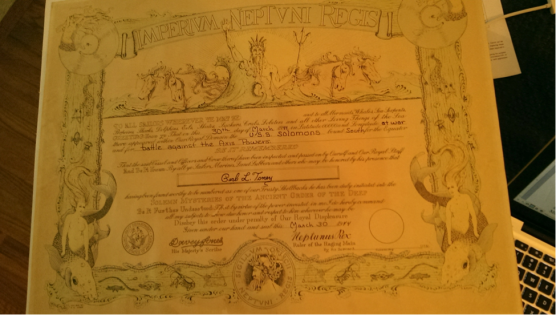 Carl Toney's Shellback certificate.